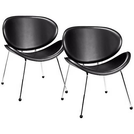 Set of Two Match Black Vinyl Chairs