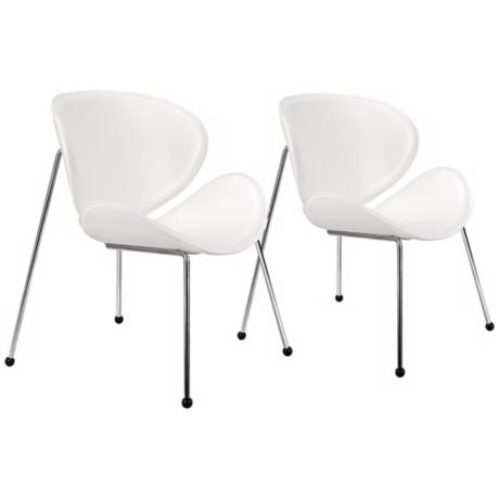 Set of Two Match White Vinyl Chairs