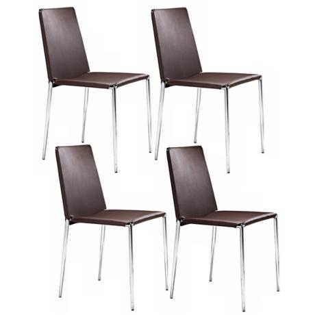 Set of Four Alex White Leatherette Dining Chairs
