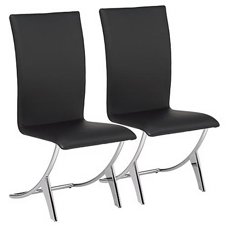 Set of Two Delfin Black Leatherette Chairs