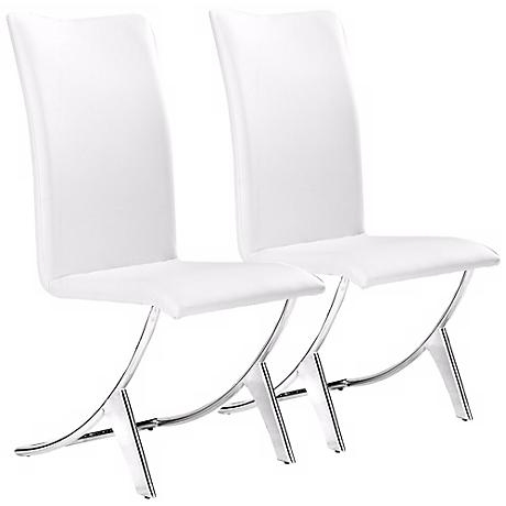 Set of Two Delfin White Leatherette Chairs