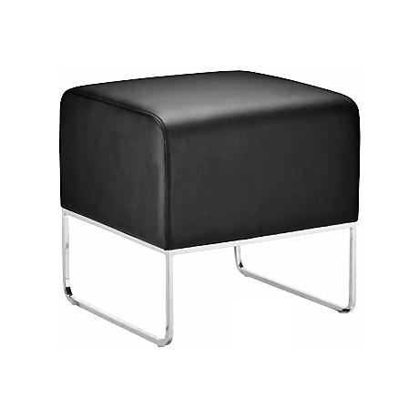 Plush Black Leatherette Ottoman