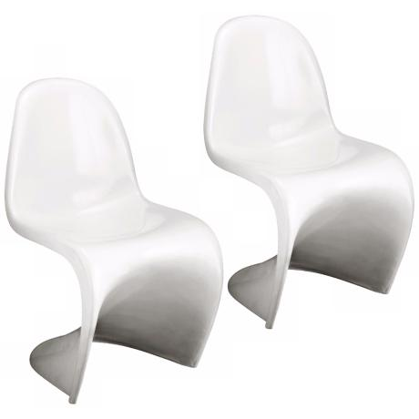 Set of Two White S Chairs