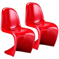 Set of Two Red S Chairs