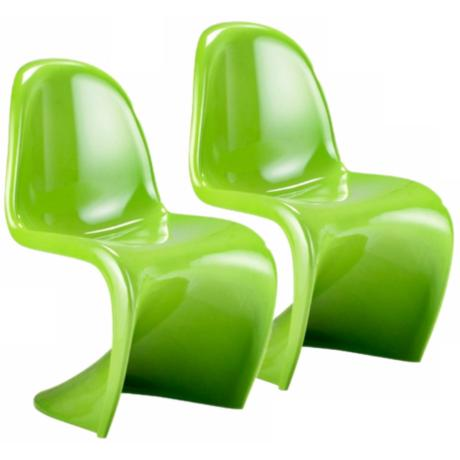 Set of Two Green S Chairs