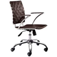Zuo Criss Cross Espresso Leatherette Office Chair
