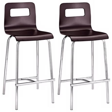 "Set of Two Zuo Modern Escape Wenge 24"" High Counter Stools"