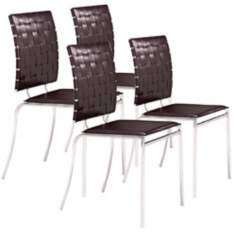 Espresso Set of Four Criss Cross Chairs