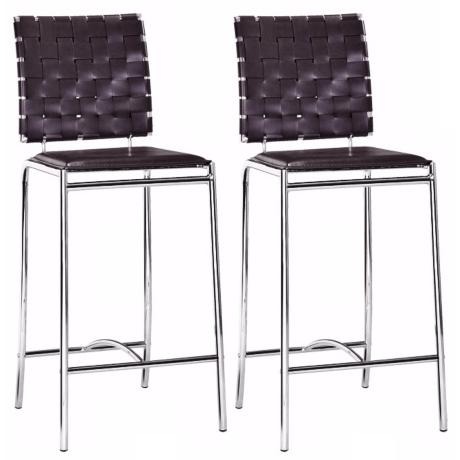 "Zuo Set of Two Leatherette Weave 26"" High Counter Stools"