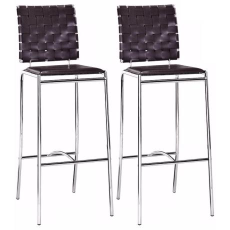 "Zuo Espresso Leatherette Weave Set of 2 29"" High Bar Stools"