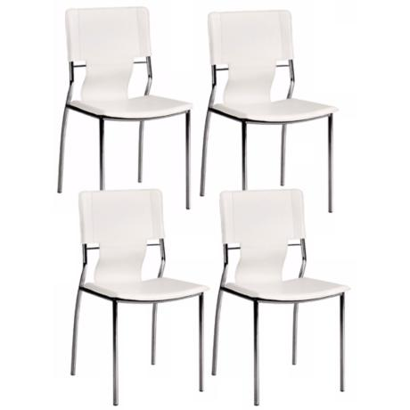 Zuo Trafico White Set of Four Side Chairs
