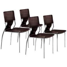 Zuo Trafico Espresso Set of Four Side Chairs