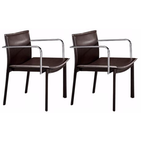 Zuo Gekko Black and Chrome Set of 2 Conference Chairs