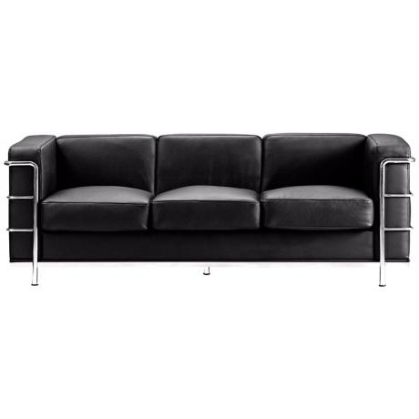 Zuo Fortress Collection Black Leather Sofa