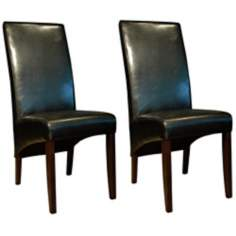 Set of 2 Coco Black Bicast Leather Side Chairs