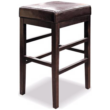 "Classic Bicast Leather Espresso 26 1/2"" High Counter Stool"