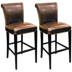 "Set of 2 Sofie 30"" High Mocha Bicast Leather Barstools"