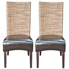Set of 2 Vera Havana Bonded Leather Side Chairs