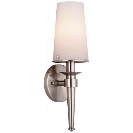"Forecast Torch Collection 14 1/2"" Satin Nickel Wall Sconce"