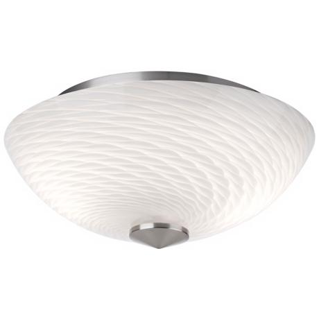 "Forecast Exhale 12 1/2"" Wide White Swirl Glass Ceiling Light"