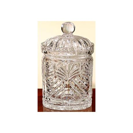 "Portico 7 1/2"" High Faceted Crystal Covered Jar"