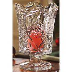 "Hurricane Christmas Tree Candle Holder 7 1/2"" High Crystal"