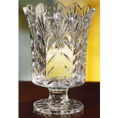 "Portico 7 1/2"" High Crystal Hurricane with Candle"
