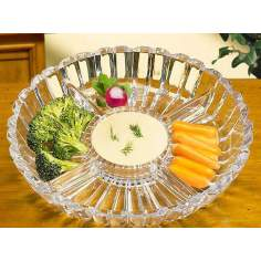 Alexandria Collection 4-Sectioned Round Crystal Server