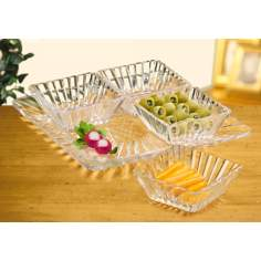 Set of 4 Square Bowls Alexandria Collection Crystal Server