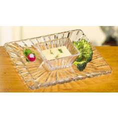 Alexandria Crystal 2 Piece Chip and Dip Serving Dishes