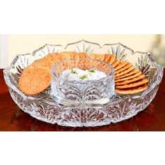 "Portico 8"" Wide Crystal Cracker and Condiment Set"