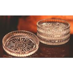 Set of 4 Lead Crystal Grecian Coasters in Gift Box