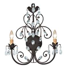 Victoria Collection Dark Rust Two Light Wall Sconce
