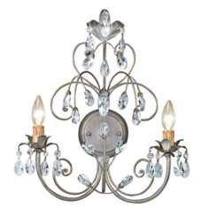 Victoria Collection Silver Leaf Two Light Wall Sconce
