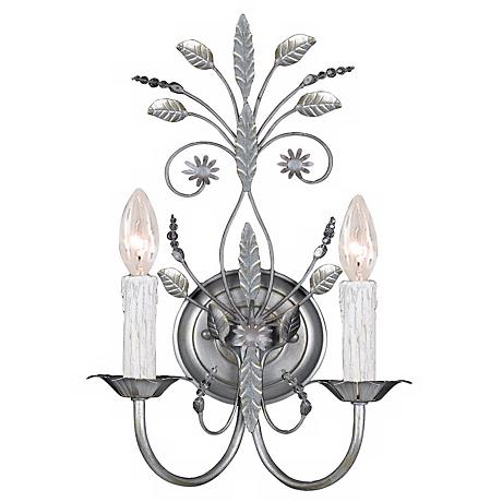 "Paris Flea Market 17"" High Silver Swarovski Wall Sconce"