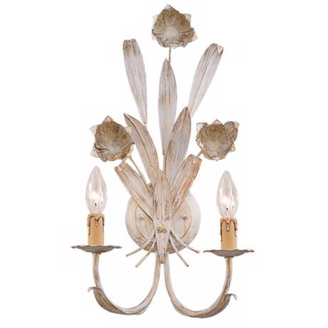 "Antique White Roses 19"" High Two Light Wall Sconce"