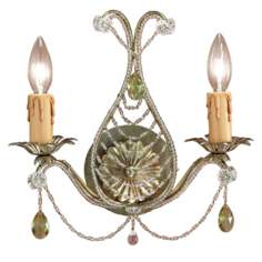 "Abigail Gold 12"" High Two Light Wall Sconce"