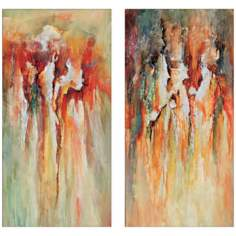 "Set of 2 Abstract Splash 40"" High Modern Wall Art"