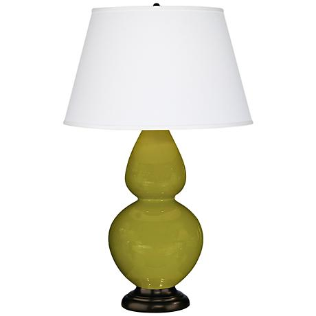 "Robert Abbey 31"" Apple Green Ceramic and Bronze Table Lamp"