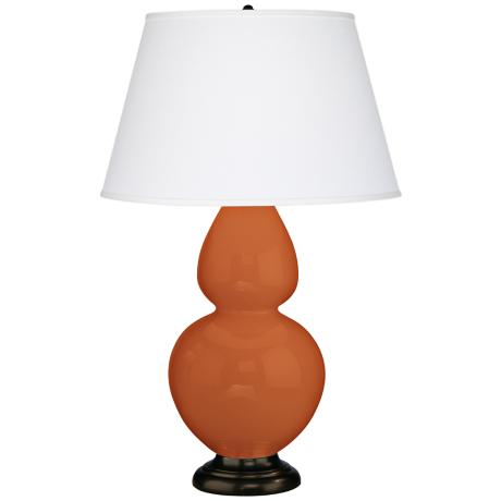 "Robert Abbey 31"" Pumpkin Orange Ceramic and Bronze Lamp"