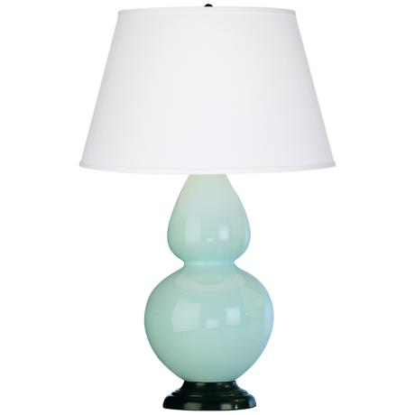 "Robert Abbey 31"" Light Blue Ceramic and Bronze Table Lamp"