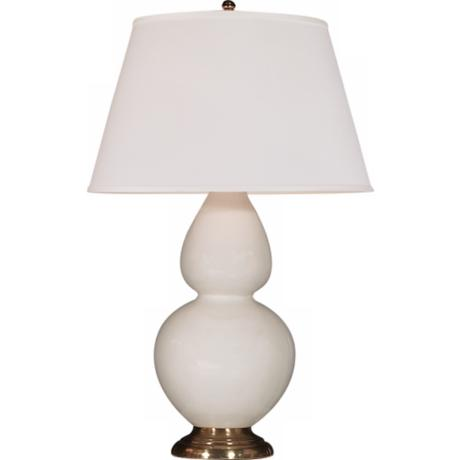 "Robert Abbey 31"" White Ceramic and Brass Table Lamp"