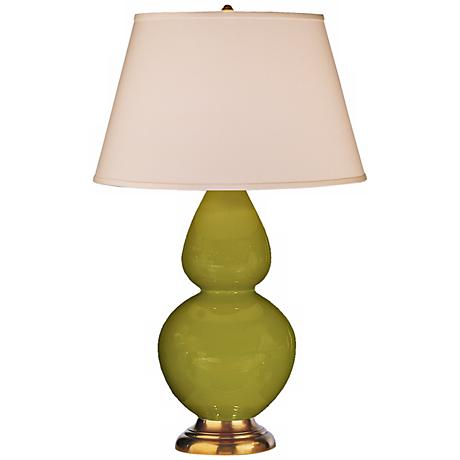 "Robert Abbey 31"" Apple Green Ceramic and Brass Lamp"