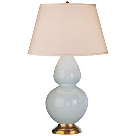"Robert Abbey 31"" Light Blue Ceramic and Brass Table Lamp"