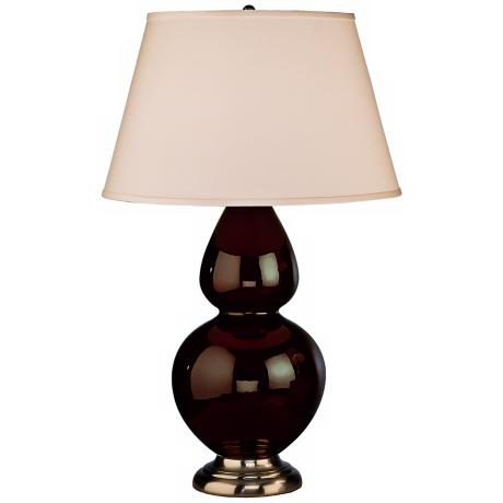 "Robert Abbey 31"" Dark Brown Ceramic and Silver Table Lamp"