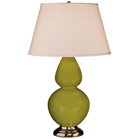 "Robert Abbey 31"" Apple Green Ceramic and Silver Table Lamp"