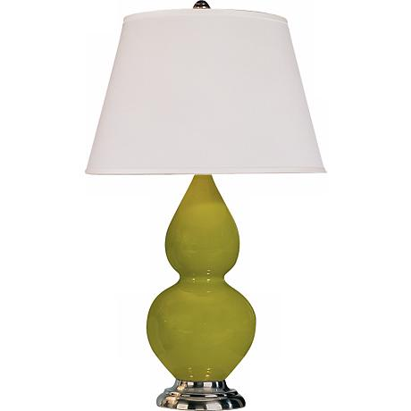"Robert Abbey 22 3/4"" Apple Green Ceramic and Silver Lamp"
