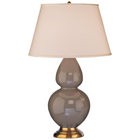 "Robert Abbey 31"" Taupe Ceramic and Brass Table Lamp"
