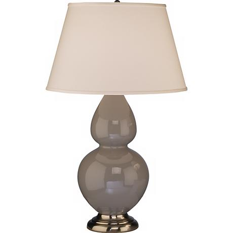 "Robert Abbey 31"" Taupe Ceramic and Silver Table Lamp"