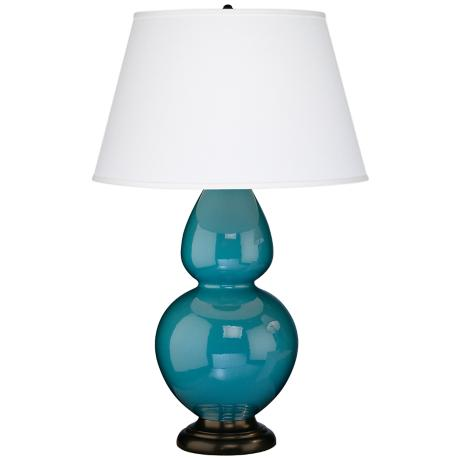"Robert Abbey 31"" Peacock Blue Ceramic and Bronze Table Lamp"
